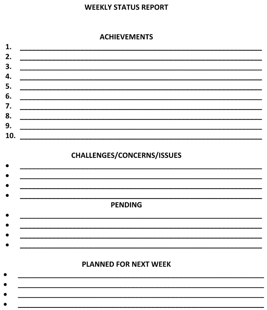 Weekly Status Report